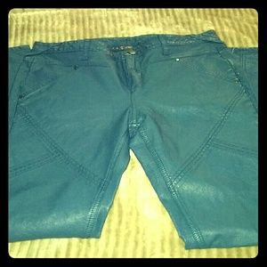 """Blue """"Free People"""" Faux Leather Pants"""